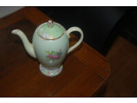 Vintage Foley china teapot English bone china, light green with floral bouquet