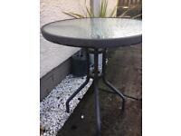 Small Metal and Glass Garden Table