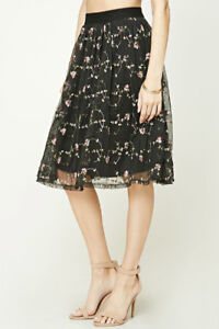 BRAND NEW F21 BLACK TULLE SKIRT WITH FLORAL EMBROIDERY