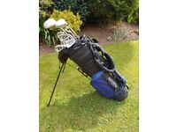 Golf Clubs and Free Standing Maxfli Carry Bag