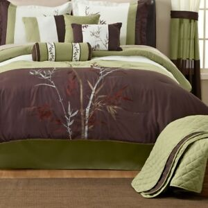 Bamboo 8pc Comforter Set - Queen, New