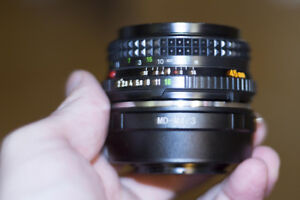Minolta MD M4/3 Rokkor-X 45mm f/2 Camera Lens adapted to M43