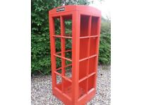 CHILDREN'S WOODEN PLAY TELEPHONE BOX - LARGE RED KIDS PHONE BOX
