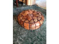 """Vintage Moroccan leather pouffe. 16"""""""