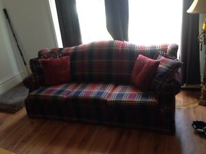 Plaid couch.