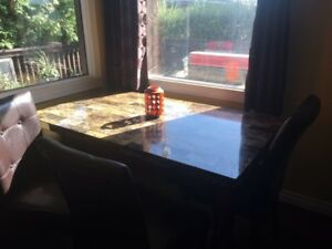 For sale faux Marble table and 4 chairs