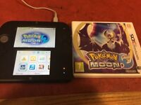 blue nintendo 2ds in mint condition unboxed with pokemon moon