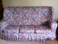 FREE THREE SEATER SOFA AND 2 ARMCHAIRS