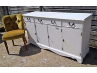 *FREE DELIVERY* Stunning Regency Style Sideboard Farrow & Ball White Shabby Chic (dresser pine oak)