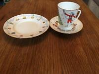 Russian Imperial Porcelain Christmas themed teacup saucer set