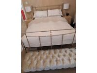 New king size Chrome bed , sprung base no mattress, stunning 4 weeks old