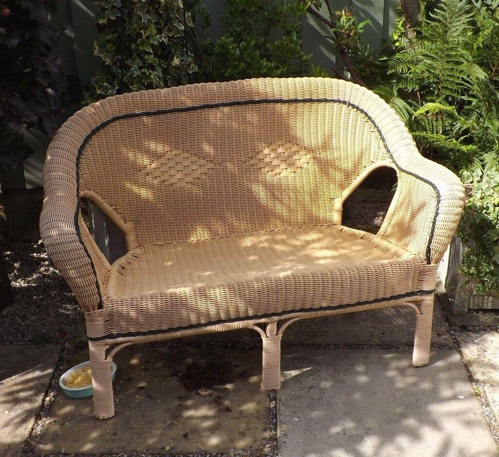 Outside weatherproof pu aluminium wicker rattan two seater settee bench garden chair conservatory