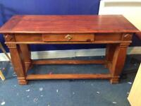 Solid wood console table with centre drawer