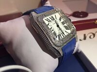 MENS CARTIER SANTOS 100 ICED OUT DIAMOND WATCH WITH BOX PAPERS TAGS NEW