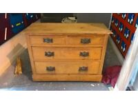 Antique pine chest of drawers. All original. In need of some tlc. Lid cracked and loose.