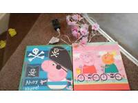 2 peppa pig canvases and lights