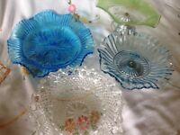 Vintage glass cake stands, Bon Bon dishes, wedding, teas, party