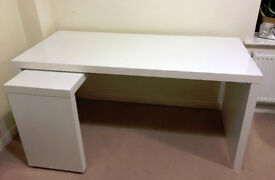 Large Ikea Malm Desk White with Pull-out panel