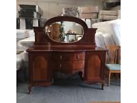** SOLID MAHOGANY ANTIQUE DRESSER / SIDEBOARD **
