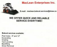 Bobcat Services Available! Excavation-Postholes - Book now!