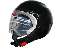 Motorcycle Helmet / Motorbike helmet Gloss black Size Large 50cc 125cc moped scooter (New With Box)