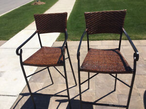 Barstools - Black aluminum frame - wicker seats