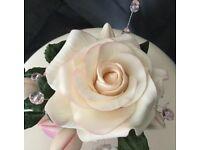 Sugar rose cake decoration