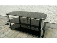 TV stand, black glass 3 tier