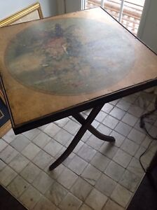 Antique foldable card table