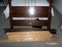 Walnut Double Slatted ed Bed