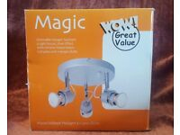 NEW & BOXED - B&Q 'Magic' Dimmable Halogen Spotlight 3 Light Round Silver Effect with Halogen Bulbs