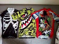 3 x Men's Short Sleeved Full Zip Cycling Jerseys & Bib Shorts, Gloves, Socks & Arm Warmers - Small