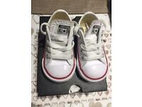 Converse All Star White Leather Infant Size 4 Immaculate - worn twice !