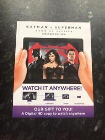 Batman V Superman: Dawn Of Justice Ultimate Edition Digital HD Ultraviolet Code Only