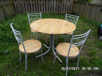 GARDEN TABLE + 4 CHAIRS - METAL/WOOD