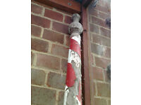 Barbers Pole genuine anitque red & white pole from grandads shop needs new home