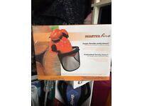 Chainsaw Forestry Brushcutter Safety Helmet C/W Metal Mesh Visor & Chin Strap - Brand New