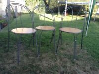 3 garden patio chairs,metal frame,quite heavy