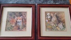 set of 6 Glenda Rae wildlife pictures in mahogany frames