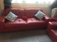 DFS Leather Sofas 3/3 an Pouffe