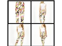 5x white floral trousers