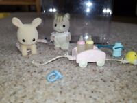 Sylvanian Families Cat & Rabbit Twin Babies with accessories & box
