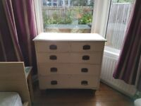 Chest of drawers for sale - wood painted white, excellent condition Collect only