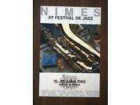 original NIMES france 1985 ' jazz concert ( miles davis ' fats domino ' etc ) festival poster