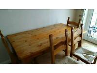 "Pine Dining Table and 4 Chairs. 5ft 6"" x 3ft"