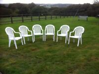 6 x White High Backed Garden Chairs