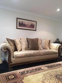 Gascoigne Medici 3 piece suite 3.5 seater sofa 2.5 seater & chair Rrp £13,000 gold stripe flocked