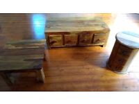 Indian Rosewood Furniture Set to include coffee table, square table and cyclindrical table