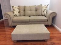 Oak Furniture 3 seater sofa with footstool excellent condition 2 years Old Smoke free home