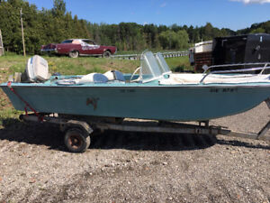 """SS Sears """"Do Too"""" Boat with Evinrude 50 HP Outboard Motor"""